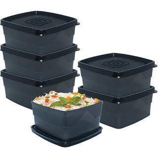 Cello Max Fresh Squarecontainers Set Of 6Pcs 550Ml -Black