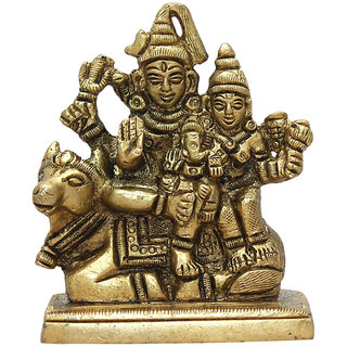 Hellopunditji Shiv Parivar Brass Idol Showpiece - 8.5 cm