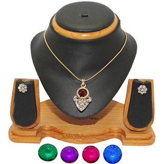 Soni Art Jewellery Changeable diamond pendant jewellery set (0023)