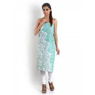 White  Sea Green Cotton Kurta With Chikankari