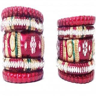 Aryan designer lac bangles maroon colour set of 10 bangles