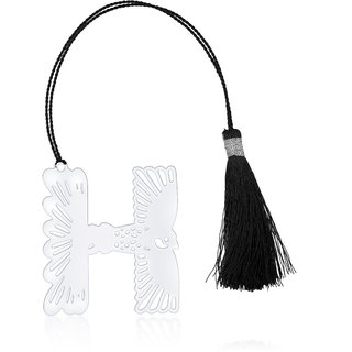 Orchid ALPHABET-H  Shape Silver Brass Metal Bookmark with Tassel