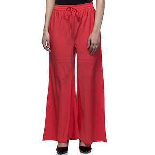 Laabha Red Flaired Plazzo Pant