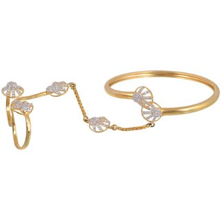 NNITS Gold and White Base Metal Bracelet for Women (ADBR0221190)