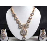 Beautiful white stone long necklace set