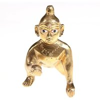 Attractive Lord Laddu Gopal / Ball Krishna / Thakur Ji Brass Statue For Pooja