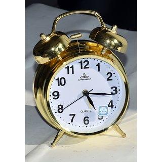 Table Alarm Clock-Stylish Alarm Clock In Golden Finish