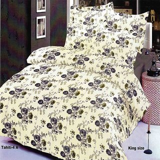 MIE, Elastic Fit Premium Cotton Rich Fabric King Size Bedsheet with 2 Pillow Covers