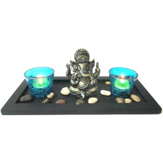 Ganesh in Tray with Blue Lamps  Pebbles