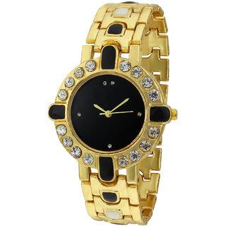 Sale Funda Stylish Golden Analog Black Dial Womens Wrist Watch CWW002