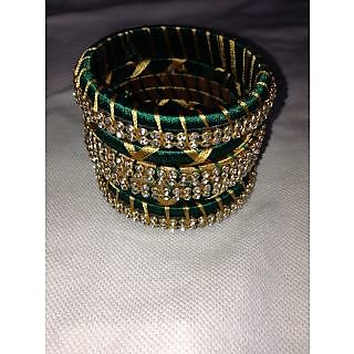 Silk Thread Bangles Set - Green and Gold