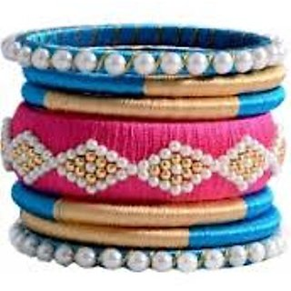 Rushika Creations Light Pink And Sky Blue Silk Thread Fancy Party Wear Bangles For Women