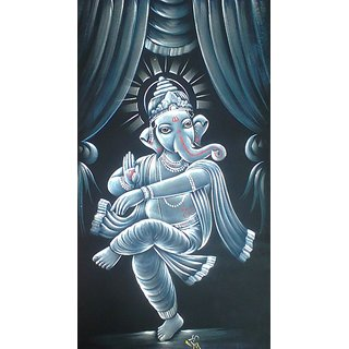 Blue dancing Ganesha painting
