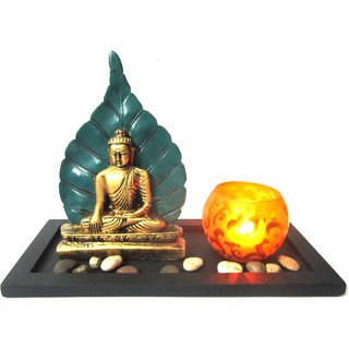 Buddha Leaf on Tray with Yellow Lights  Pebbles