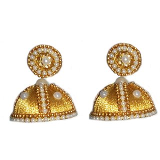 Fashion Jewellery - Gold Silk thread earring with pearl stones.