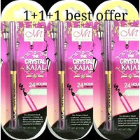 NEW MENOW-PRO THE CRYSTAL KAJAL 24 HOURS LONG STAY BLACK BOLD SMUDGE RESITANT ( Buy 1 Get 2 Free )