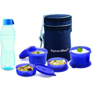 Executive Lunch Box with Bag (Aqua Bottle 500ml Free), 2-Pieces