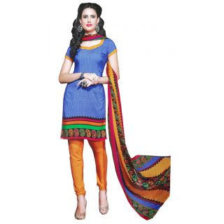 LolyDoll Womens Blue Color Floral Printed Designer New Fashion Synthetic Fabric Casual Wear Dress Salwar / Chudidar Suit