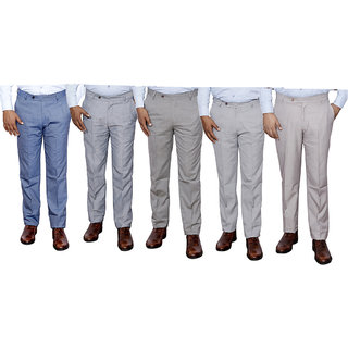 Indiweaves Combo Offer Mens Formal Trouser (Pack Of 5)