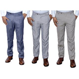 Indiweaves Combo Offer Mens Formal Trouser (Pack Of 3)