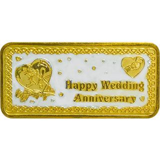 Shubham Motiwala BIS 999 Hallmark Certified Gold Polish Happy Anniversary Coin, 20 gms