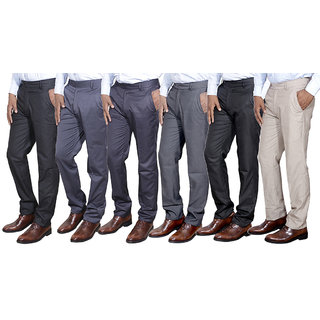 Indiweaves Combo Offer Mens Formal Trouser (Pack Of 6)