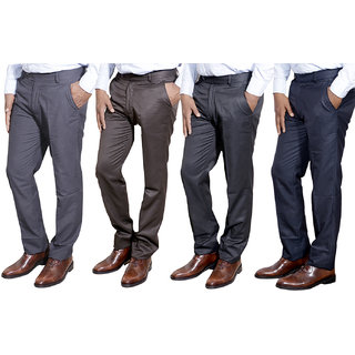 Indiweaves Combo Offer Mens Formal Trouser (Pack Of 4)