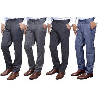 Indiweaves Combo Offer Mens Formal Trouser (Pack Of 4)