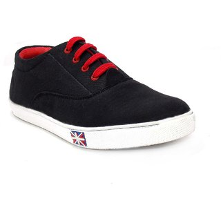 First Look Mens Black & Red Lace-up Sneakers