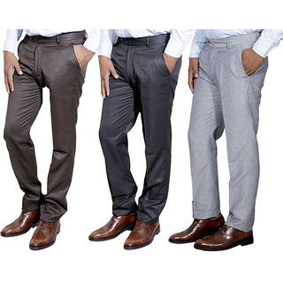 Indiweaves Mens Formal Trousers Combo-3