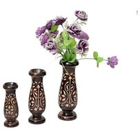 Onlineshoppee Wooden Antique Flower Vase With Hand Carved Design Pack Of 3 LxBxH-4x4x12 Inch
