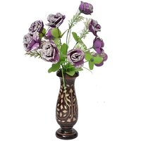 Onlineshoppee Wooden Antique Flower Vase With Hand Carved Design LxBxH-4x4x12 Inch