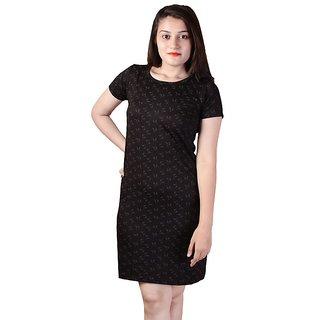 dlyric Womens Shift Black Self Print Dress