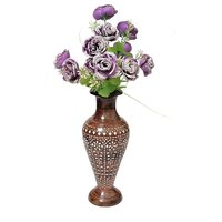 Onlineshoppee Wooden Antique Flower Vase With Hand Carved Design LxBxH-6x6x14.5 Inch