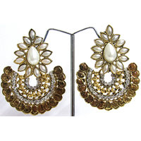 Golden Coin White Pearl Earring Temple Jewellery
