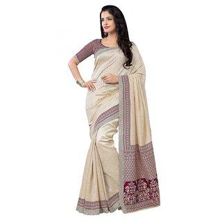 Saree Mall Cream  Magenta Bhagalpuri Silk Printed Saree With Unsitiched Blouse 3WOM8902