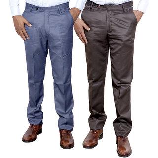 Indiweaves Combo Offer Mens Formal Trouser (Pack Of 2)