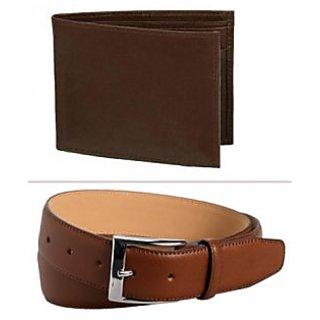Jack Klein Good Quality Brown Color Leather Wallet And Belt For Men
