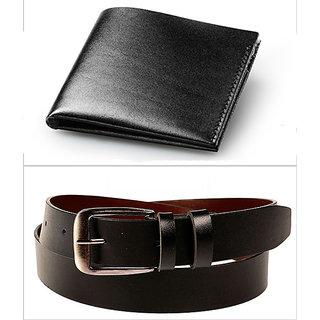 Jack Klein Good Quality Black Color Leather Wallet And Belt For Men