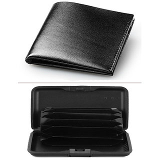 Jack Klein Good Quality Black Color Leather Wallet And Alluma Wallet For Men