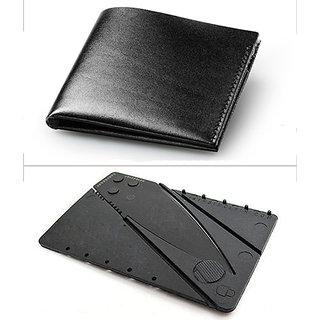 Jack Klein Good Quality Black Color Leather Wallet And Cradit Card Knife For Men
