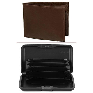 Jack Klein Good Quality Brown Color Leather Wallet And Alluma Wallet For Men