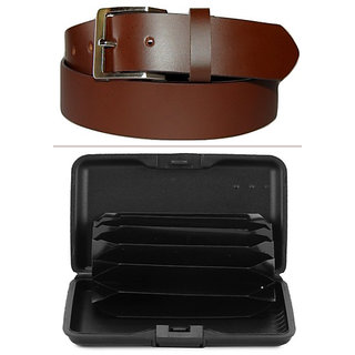 Jack Klein Combo of Leather Brown belt And Alluma Wallet For Men