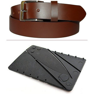 Jack Klein Combo of Leather Brown Belt And Cradit Card Knife For Men