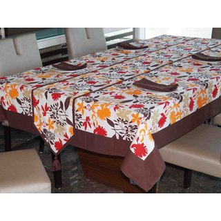 Lushomes Leaf Printed 4 Seater Table Linen Set