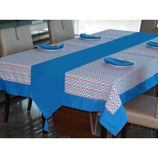 Lushomes Diamond Printed 4 Seater Table Linen Set