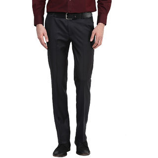 Routeen Mens Blue Slim Fit Formal Trousers