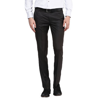 Routeen Mens Brown Slim Fit Formal Trousers