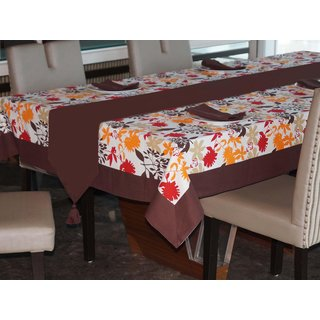 Lushomes Leaf Printed 6 Seater Small Table Linen Set