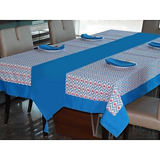 Lushomes Diamond Printed 6 Seater SmallTable Linen Set